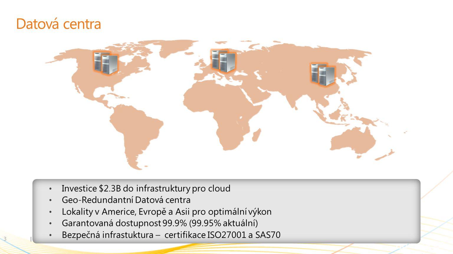 Datová centra 3 Investice $2.3B do infrastruktury pro cloud Geo-Redundantní Datová centra Lokality v Americe, Evropě a Asii pro optimální výkon Garantovaná dostupnost 99.9% (99.95% aktuální) Bezpečná infrastuktura – certifikace ISO27001 a SAS70