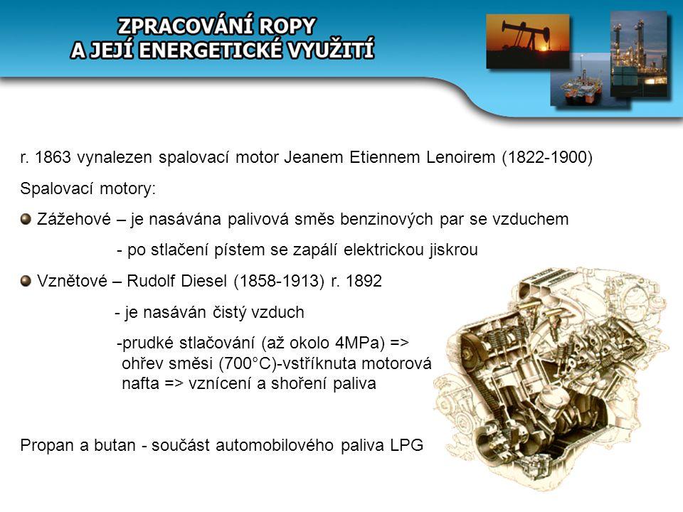 r. 1863 vynalezen spalovací motor Jeanem Etiennem Lenoirem (1822-1900) Spalovací motory: Zážehové – je nasávána palivová směs benzinových par se vzduc