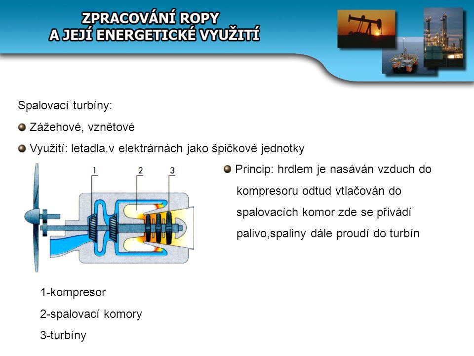 Spalovací turbíny: Zážehové, vznětové Využití: letadla,v elektrárnách jako špičkové jednotky 1-kompresor 2-spalovací komory 3-turbíny Princip: hrdlem