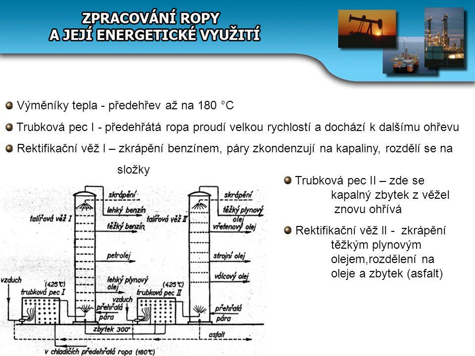 Výměníky tepla - předehřev až na 180 °C Trubková pec I - předehřátá ropa proudí velkou rychlostí a dochází k dalšímu ohřevu Rektifikační věž l – zkráp