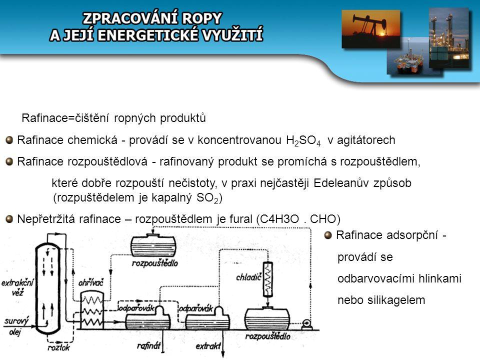 Rafinace=čištění ropných produktů Rafinace chemická - provádí se v koncentrovanou H 2 SO 4 v agitátorech Rafinace rozpouštědlová - rafinovaný produkt