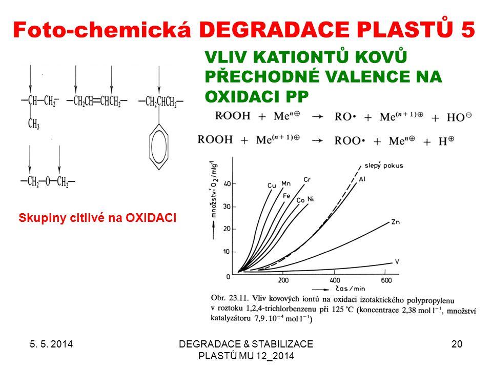 Foto-chemická DEGRADACE PLASTŮ 5 5. 5. 2014DEGRADACE & STABILIZACE PLASTŮ MU 12_2014 20 Skupiny citlivé na OXIDACI VLIV KATIONTŮ KOVŮ PŘECHODNÉ VALENC