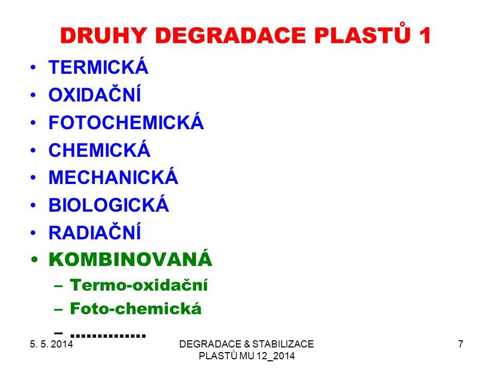 5. 5. 2014DEGRADACE & STABILIZACE PLASTŮ MU 12_2014 7 DRUHY DEGRADACE PLASTŮ 1 TERMICKÁ OXIDAČNÍ FOTOCHEMICKÁ CHEMICKÁ MECHANICKÁ BIOLOGICKÁ RADIAČNÍ