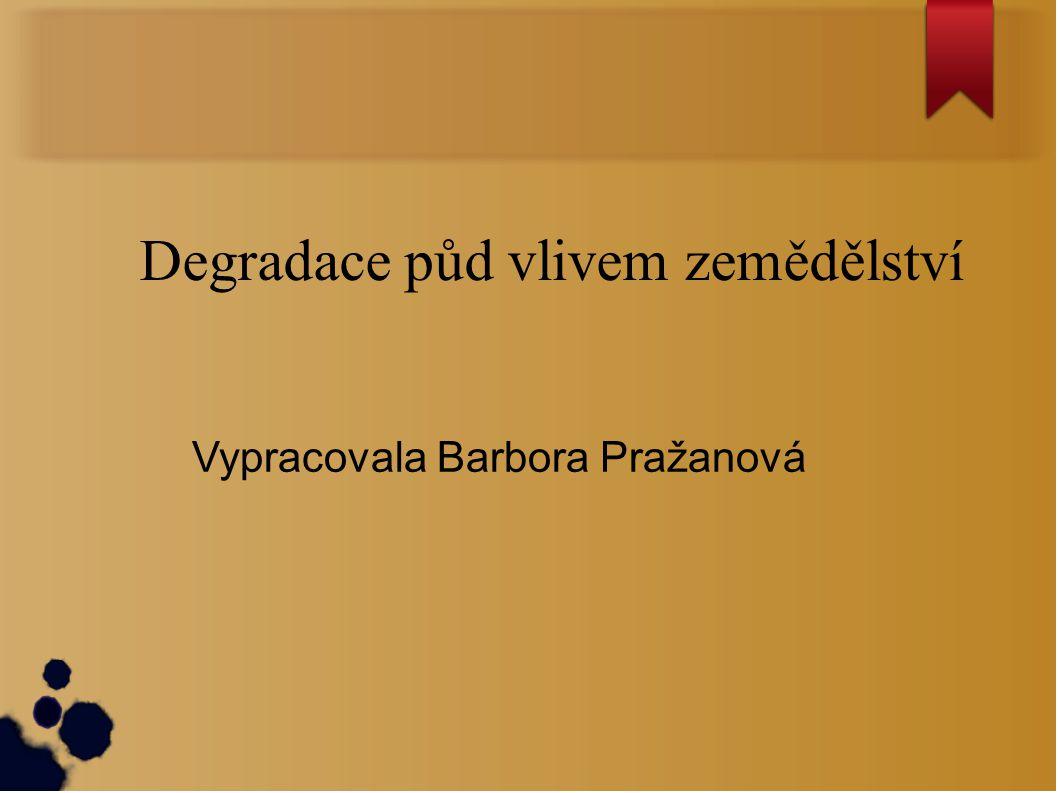Degradace půd vlivem zemědělství Vypracovala Barbora Pražanová