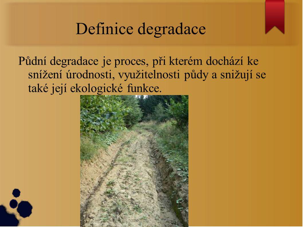 Definice degradace Půdní degradace je proces, při kterém dochází ke snížení úrodnosti, využitelnosti půdy a snižují se také její ekologické funkce.