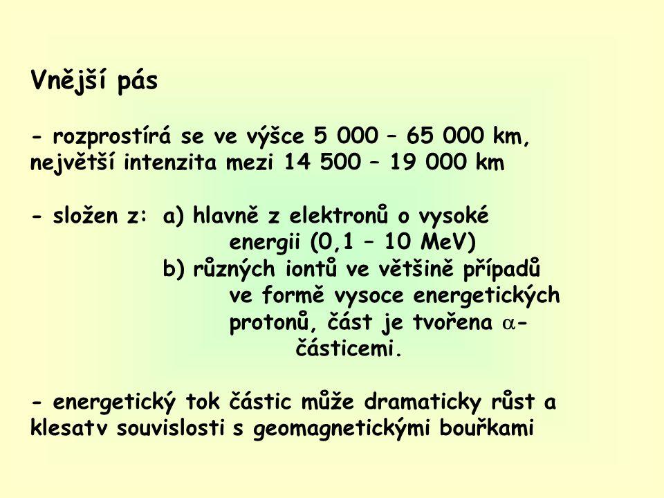 Vnější pás - rozprostírá se ve výšce 5 000 – 65 000 km, největší intenzita mezi 14 500 – 19 000 km - složen z:a) hlavně z elektronů o vysoké energii (0,1 – 10 MeV) b) různých iontů ve většině případů ve formě vysoce energetických protonů, část je tvořena  - částicemi.