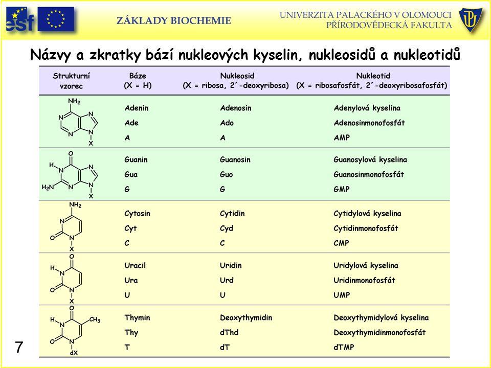Názvy a zkratky bází nukleových kyselin, nukleosidů a nukleotidů 7