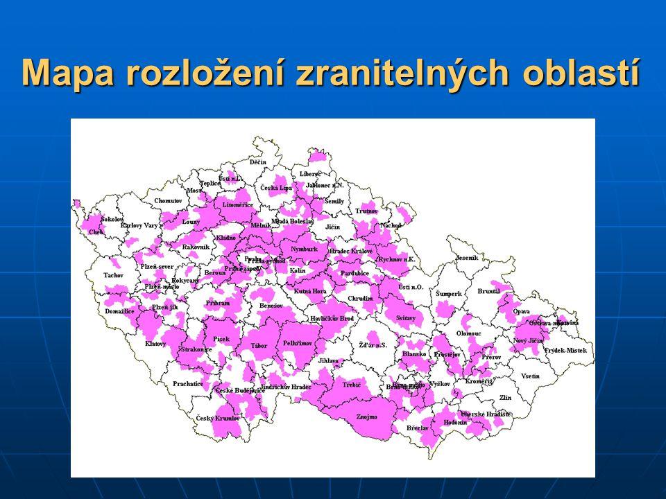 Mapa rozložení zranitelných oblastí
