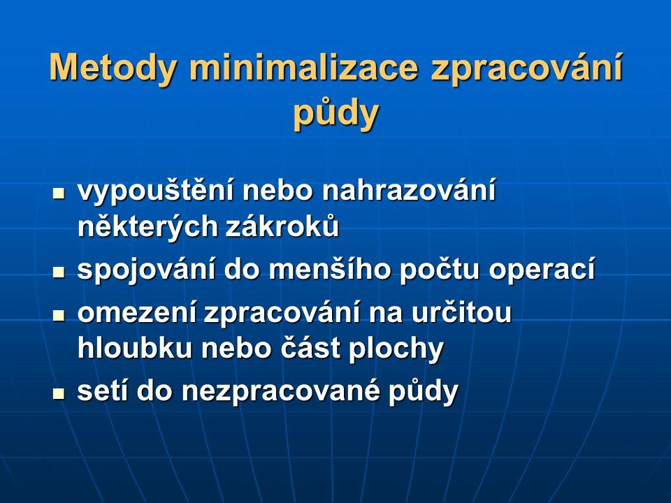 Metody minimalizace zpracování půdy vypouštění nebo nahrazování některých zákroků vypouštění nebo nahrazování některých zákroků spojování do menšího p