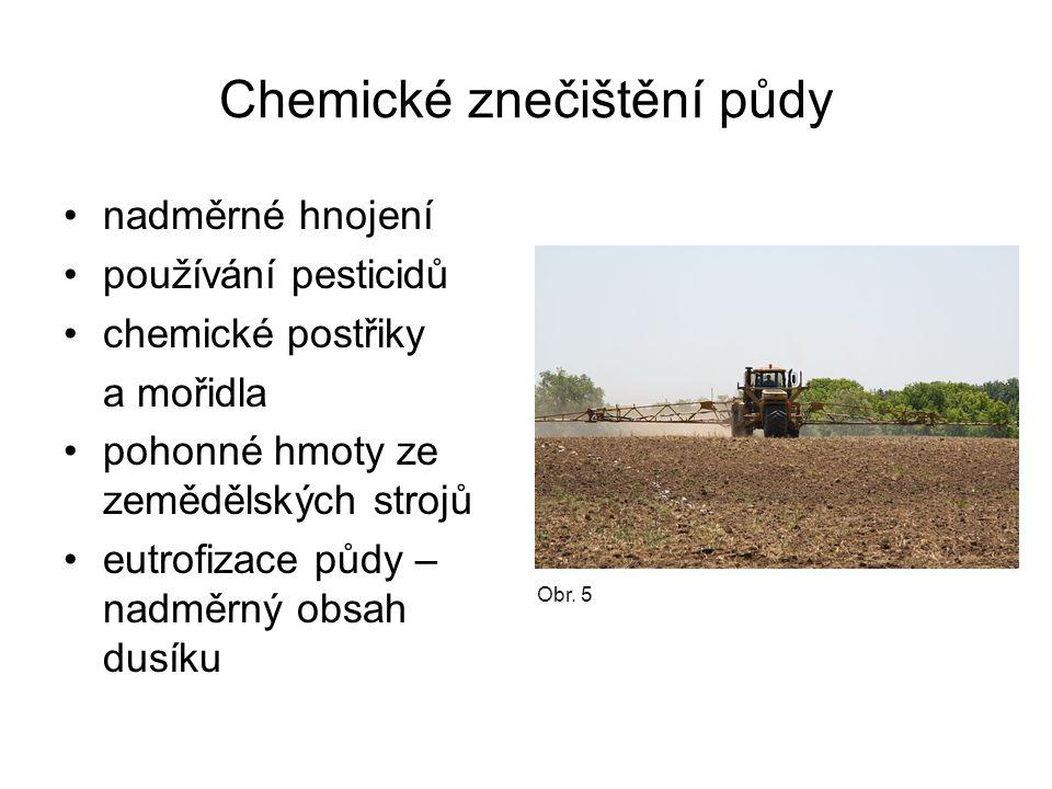 Chemické znečištění půdy nadměrné hnojení používání pesticidů chemické postřiky a mořidla pohonné hmoty ze zemědělských strojů eutrofizace půdy – nadm