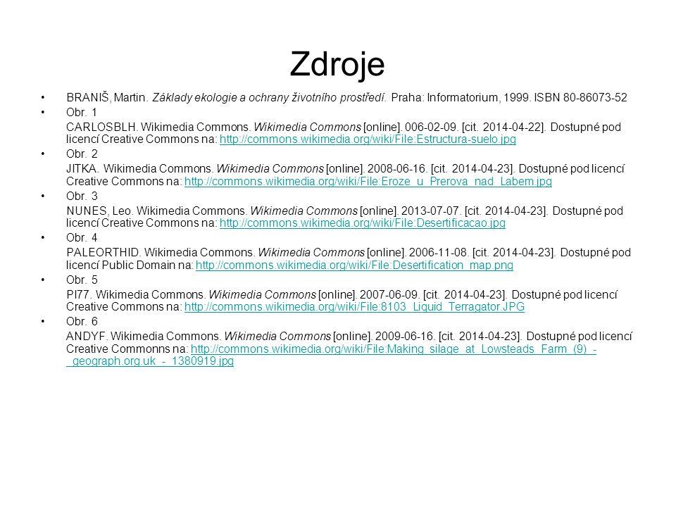 Zdroje BRANIŠ, Martin. Základy ekologie a ochrany životního prostředí. Praha: Informatorium, 1999. ISBN 80-86073-52 Obr. 1 CARLOSBLH. Wikimedia Common