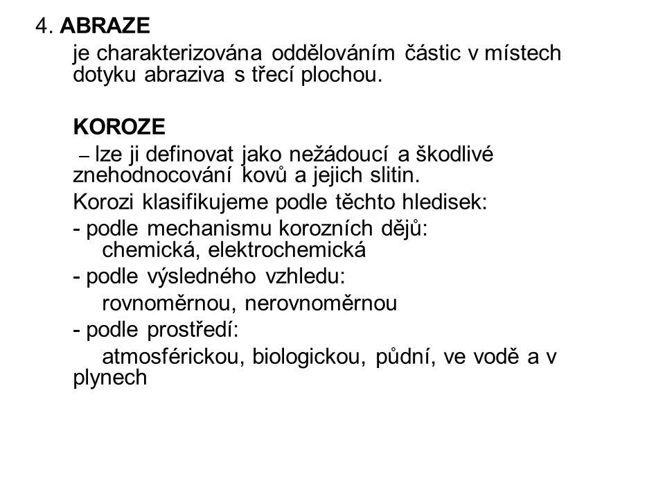 4.ABRAZE je charakterizována oddělováním částic v místech dotyku abraziva s třecí plochou.
