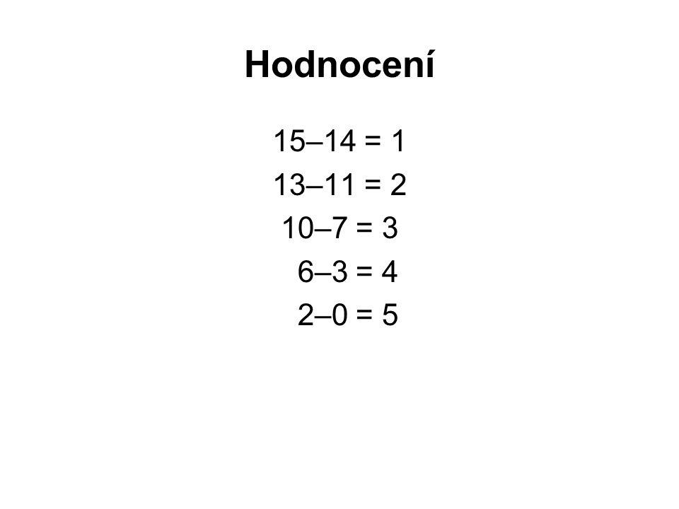 Hodnocení 15–14 = 1 13–11 = 2 10–7 = 3 6–3 = 4 2–0 = 5