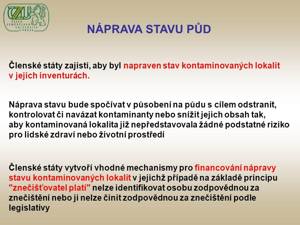 NÁPRAVA STAVU PŮD Členské státy zajistí, aby byl napraven stav kontaminovaných lokalit v jejich inventurách. Náprava stavu bude spočívat v působení na