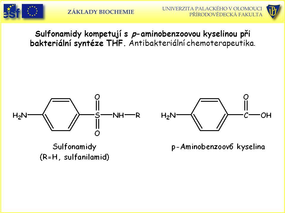 Sulfonamidy kompetují s p-aminobenzoovou kyselinou při bakteriální syntéze THF. Antibakteriální chemoterapeutika.