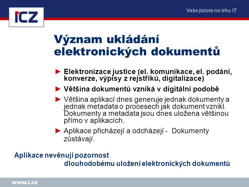 Vaše jistota na trhu IT www.i.cz Význam ukládání elektronických dokumentů ►Elektronizace justice (el.