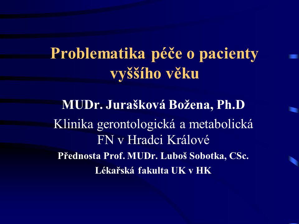 Problematika péče o pacienty vyššího věku MUDr. Jurašková Božena, Ph.D Klinika gerontologická a metabolická FN v Hradci Králové Přednosta Prof. MUDr.