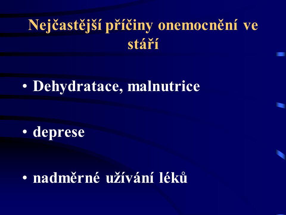 Nejčastější příčiny onemocnění ve stáří Dehydratace, malnutrice deprese nadměrné užívání léků