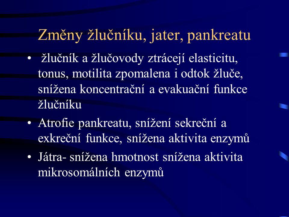 Změny žlučníku, jater, pankreatu žlučník a žlučovody ztrácejí elasticitu, tonus, motilita zpomalena i odtok žluče, snížena koncentrační a evakuační fu