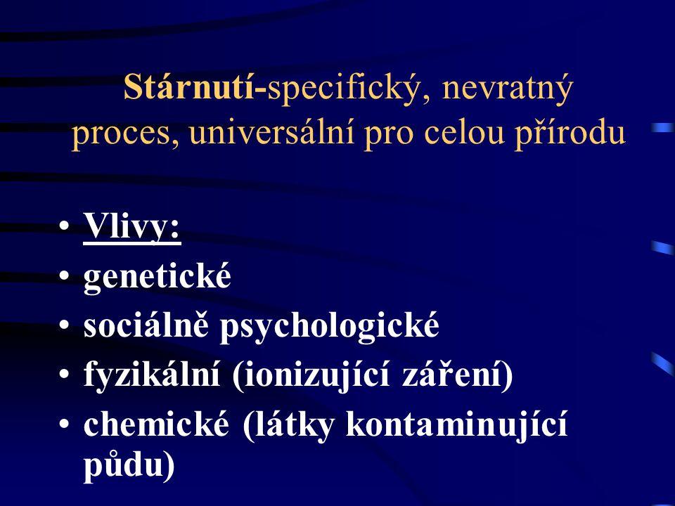 Stárnutí-specifický, nevratný proces, universální pro celou přírodu Vlivy: genetické sociálně psychologické fyzikální (ionizující záření) chemické (lá