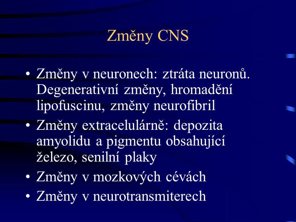 Změny CNS Změny v neuronech: ztráta neuronů. Degenerativní změny, hromadění lipofuscinu, změny neurofibril Změny extracelulárně: depozita amyolidu a p