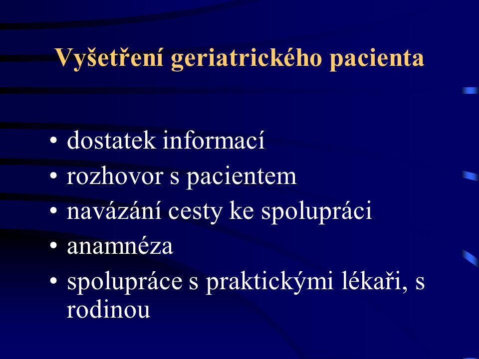 Vyšetření geriatrického pacienta dostatek informací rozhovor s pacientem navázání cesty ke spolupráci anamnéza spolupráce s praktickými lékaři, s rodi