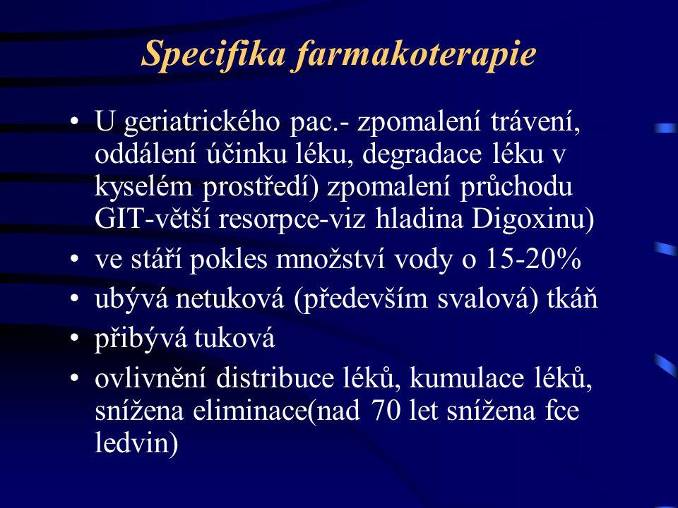 Specifika farmakoterapie U geriatrického pac.- zpomalení trávení, oddálení účinku léku, degradace léku v kyselém prostředí) zpomalení průchodu GIT-vět