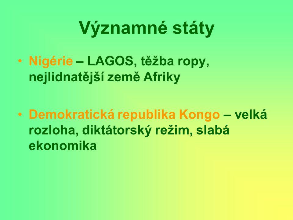 Významné státy Nigérie – LAGOS, těžba ropy, nejlidnatější země Afriky Demokratická republika Kongo – velká rozloha, diktátorský režim, slabá ekonomika