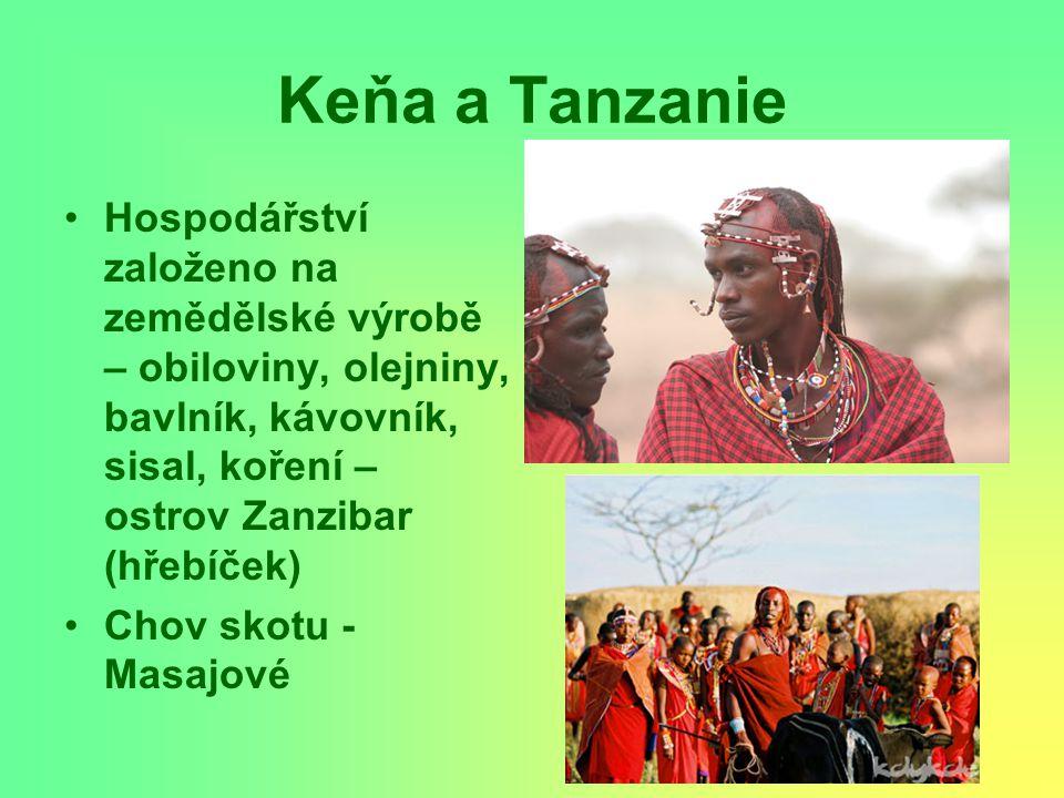 Keňa a Tanzanie Hospodářství založeno na zemědělské výrobě – obiloviny, olejniny, bavlník, kávovník, sisal, koření – ostrov Zanzibar (hřebíček) Chov s