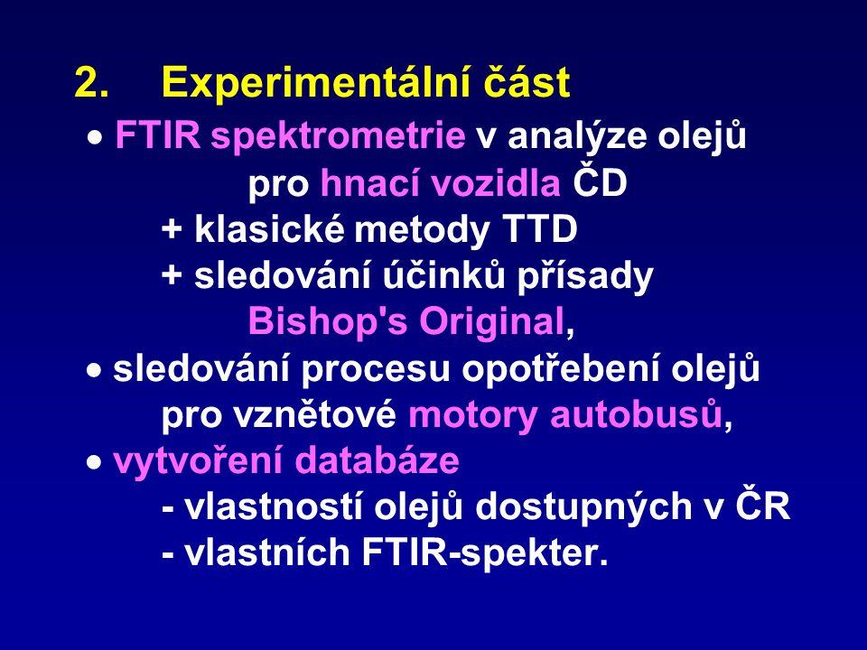 2.Experimentální část  FTIR spektrometrie v analýze olejů pro hnací vozidla ČD + klasické metody TTD + sledování účinků přísady Bishop's Original, 
