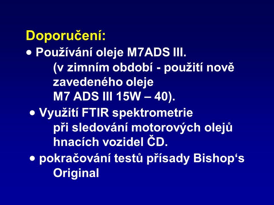 Doporučení:  Používání oleje M7ADS III. (v zimním období - použití nově zavedeného oleje M7 ADS III 15W – 40).  Využití FTIR spektrometrie při sledo