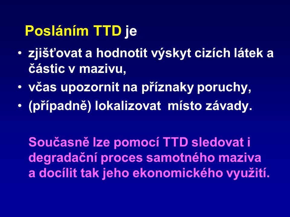 Posláním TTD je zjišťovat a hodnotit výskyt cizích látek a částic v mazivu, včas upozornit na příznaky poruchy, (případně) lokalizovat místo závady. S