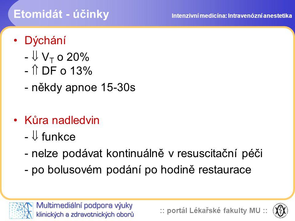 :: portál Lékařské fakulty MU :: Etomidát - účinky Dýchání -  V T o 20% -  DF o 13% - někdy apnoe 15-30s Kůra nadledvin -  funkce - nelze podávat kontinuálně v resuscitační péči - po bolusovém podání po hodině restaurace Intenzivní medicína: Intravenózní anestetika