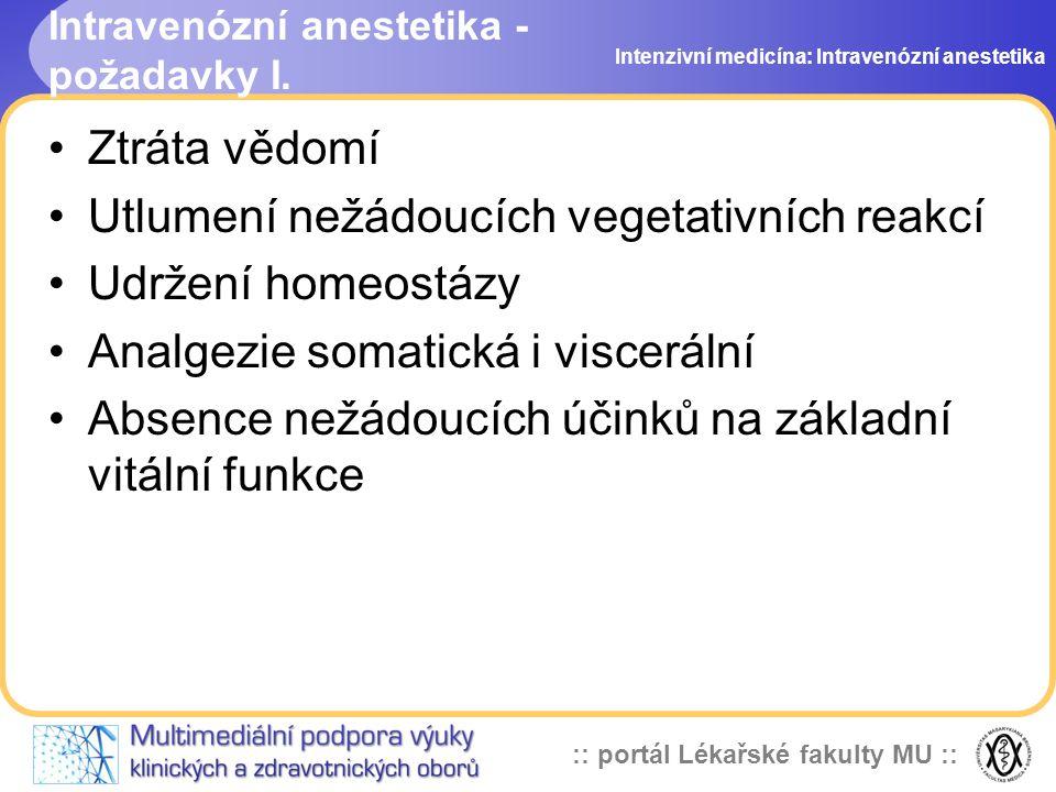 :: portál Lékařské fakulty MU :: Intravenózní anestetika - požadavky I. Ztráta vědomí Utlumení nežádoucích vegetativních reakcí Udržení homeostázy Ana