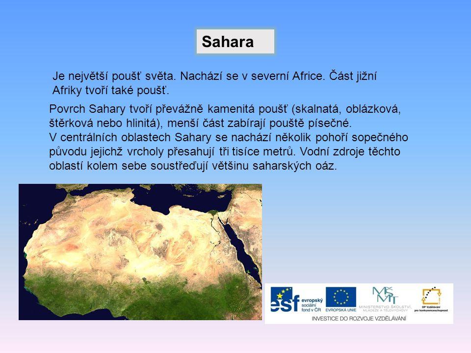 Sahara Je největší poušť světa.Nachází se v severní Africe.