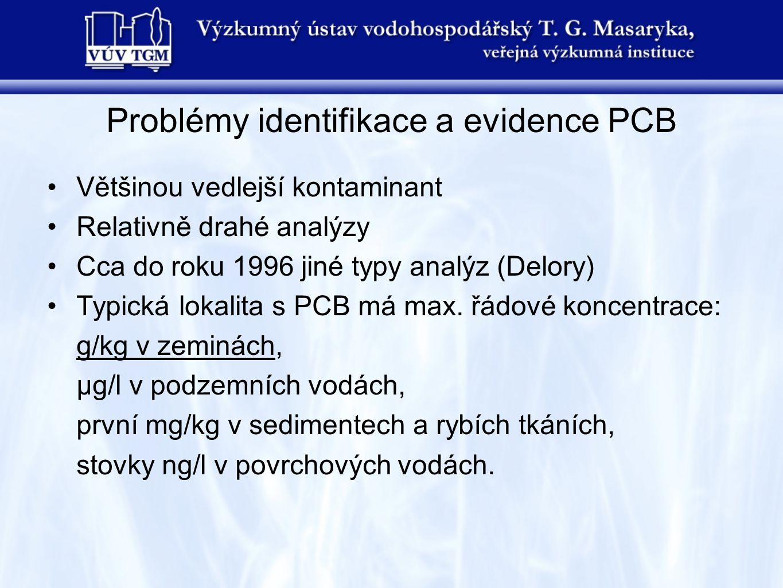 Problémy identifikace a evidence PCB Většinou vedlejší kontaminant Relativně drahé analýzy Cca do roku 1996 jiné typy analýz (Delory) Typická lokalita