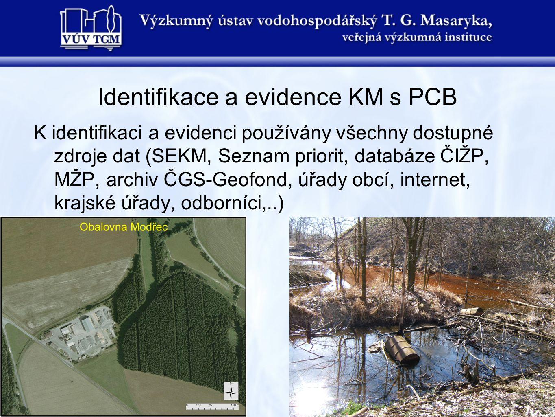 Identifikace a evidence KM s PCB K identifikaci a evidenci používány všechny dostupné zdroje dat (SEKM, Seznam priorit, databáze ČIŽP, MŽP, archiv ČGS