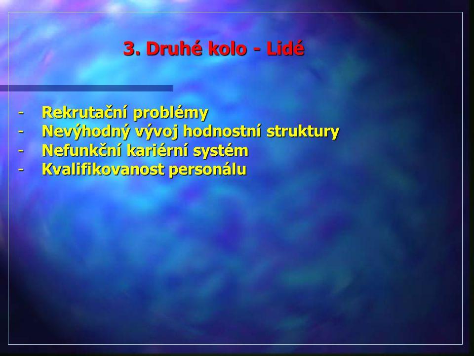 -Rekrutační problémy -Nevýhodný vývoj hodnostní struktury -Nefunkční kariérní systém -Kvalifikovanost personálu