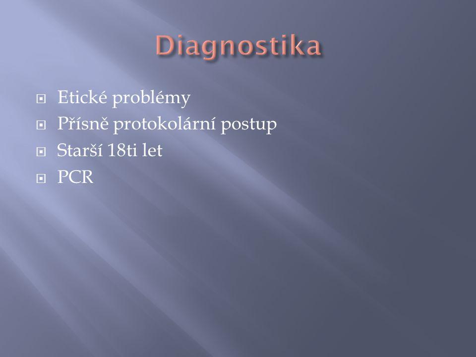 Etické problémy  Přísně protokolární postup  Starší 18ti let  PCR