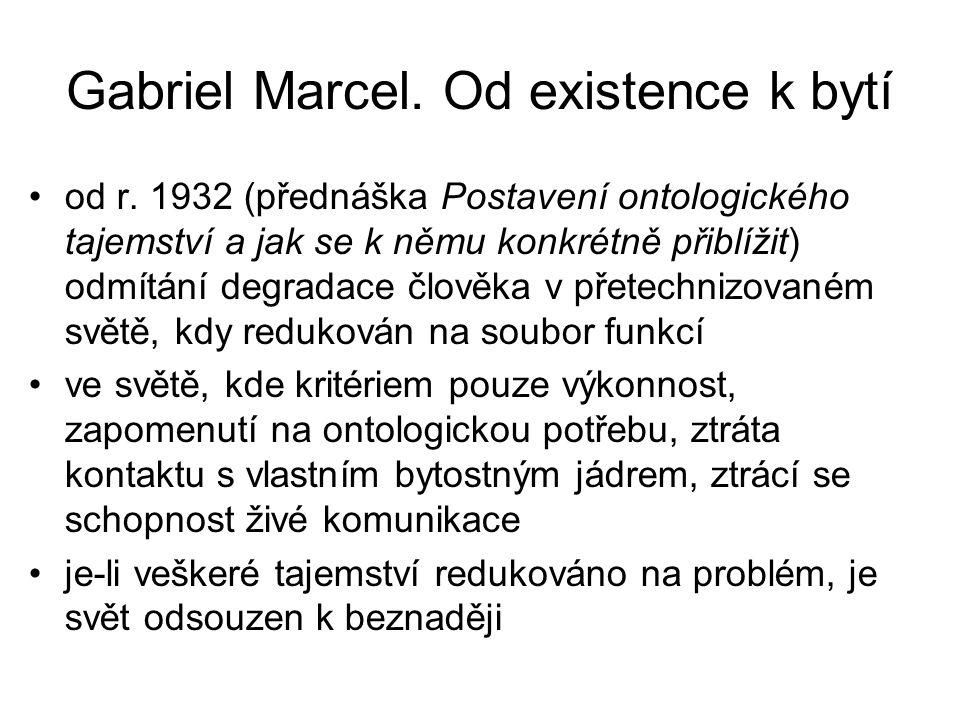 Gabriel Marcel. Od existence k bytí od r. 1932 (přednáška Postavení ontologického tajemství a jak se k němu konkrétně přiblížit) odmítání degradace čl