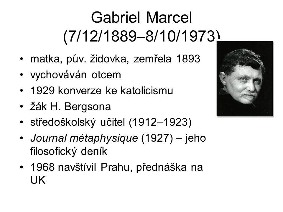 Gabriel Marcel (7/12/1889–8/10/1973) matka, pův. židovka, zemřela 1893 vychováván otcem 1929 konverze ke katolicismu žák H. Bergsona středoškolský uči