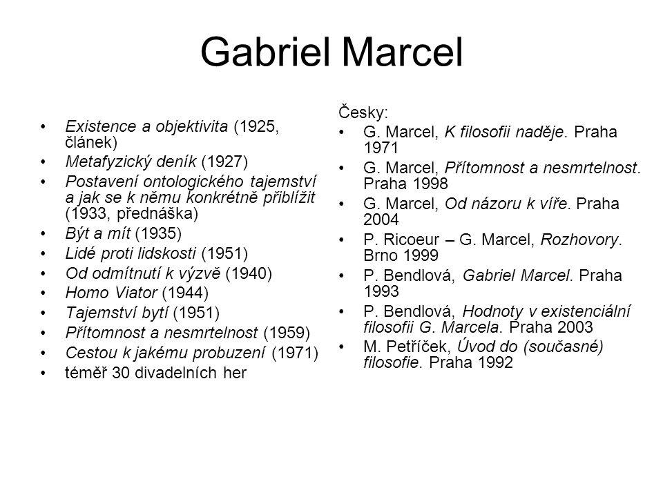 Gabriel Marcel Existence a objektivita (1925, článek) Metafyzický deník (1927) Postavení ontologického tajemství a jak se k němu konkrétně přiblížit (