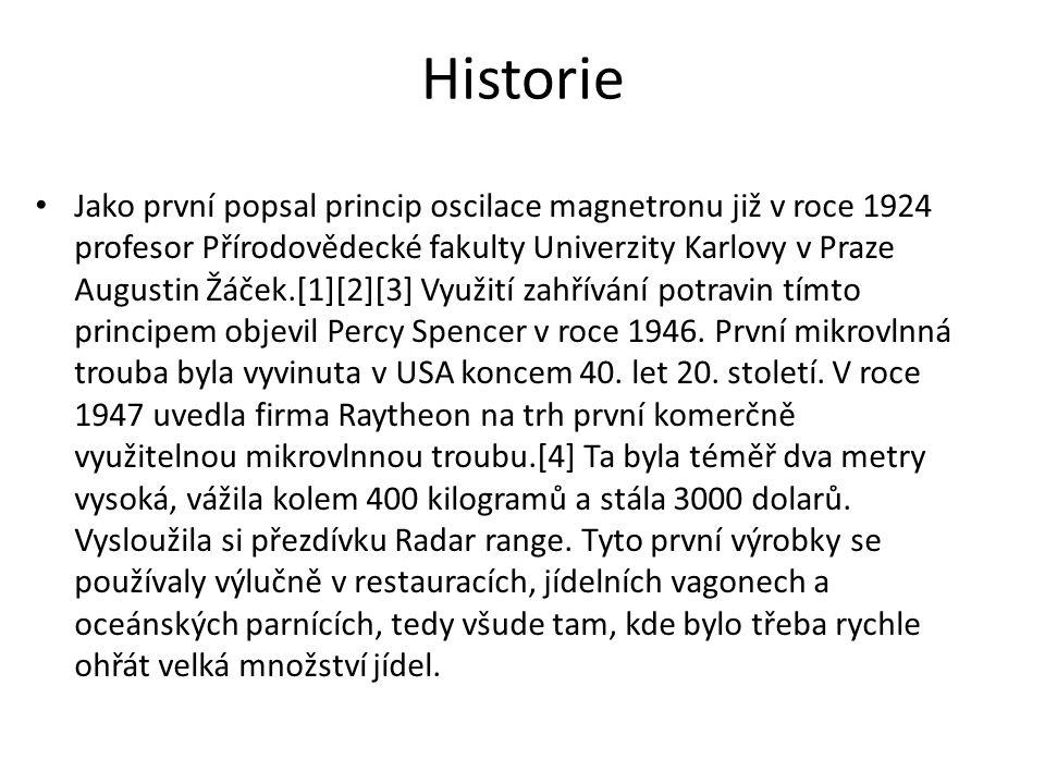 Historie Jako první popsal princip oscilace magnetronu již v roce 1924 profesor Přírodovědecké fakulty Univerzity Karlovy v Praze Augustin Žáček.[1][2][3] Využití zahřívání potravin tímto principem objevil Percy Spencer v roce 1946.