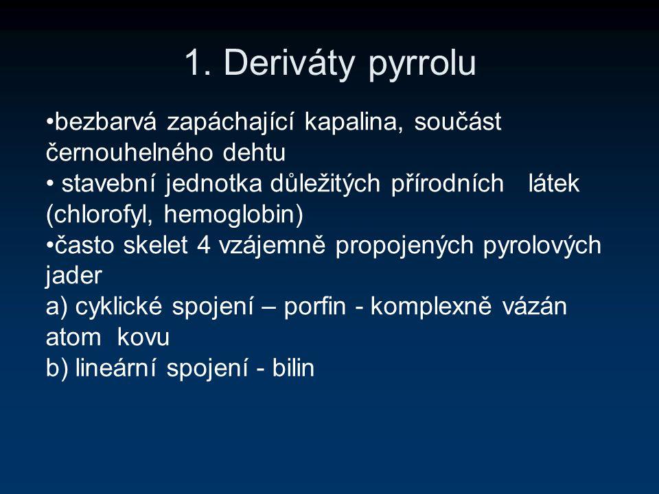 1. Deriváty pyrrolu bezbarvá zapáchající kapalina, součást černouhelného dehtu stavební jednotka důležitých přírodních látek (chlorofyl, hemoglobin) č