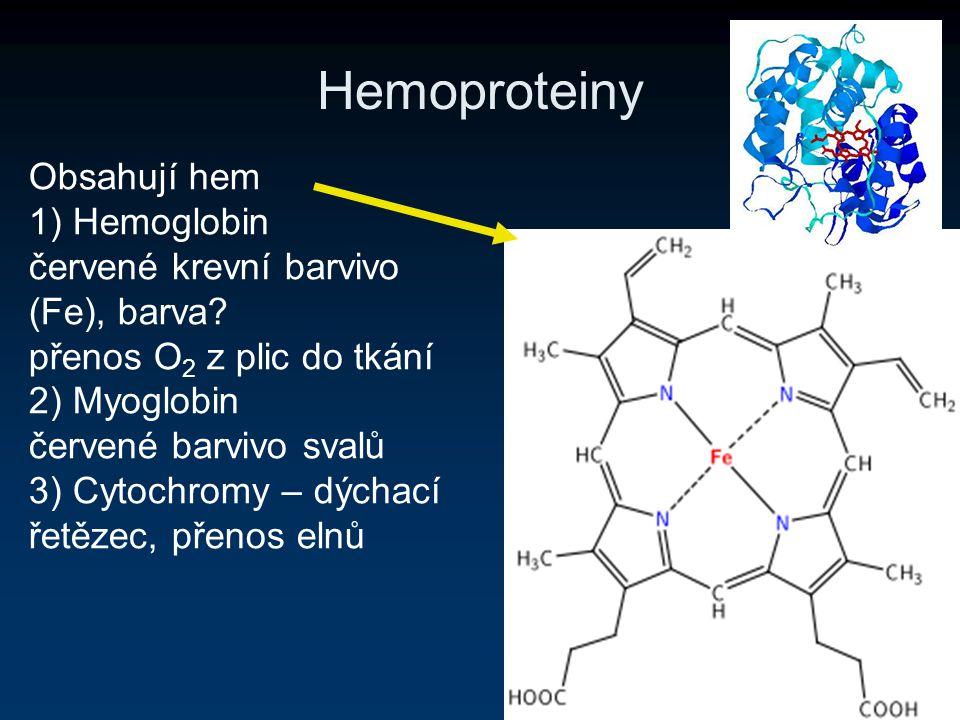 Hemoproteiny Obsahují hem 1) Hemoglobin červené krevní barvivo (Fe), barva? přenos O 2 z plic do tkání 2) Myoglobin červené barvivo svalů 3) Cytochrom