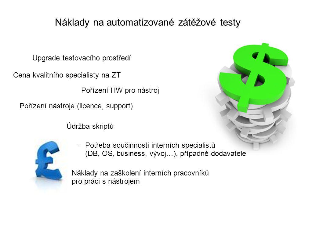 Náklady na automatizované zátěžové testy – Potřeba součinnosti interních specialistů (DB, OS, business, vývoj…), případně dodavatele Pořízení nástroje (licence, support) Pořízení HW pro nástroj Cena kvalitního specialisty na ZT Upgrade testovacího prostředí Náklady na zaškolení interních pracovníků pro práci s nástrojem Údržba skriptů