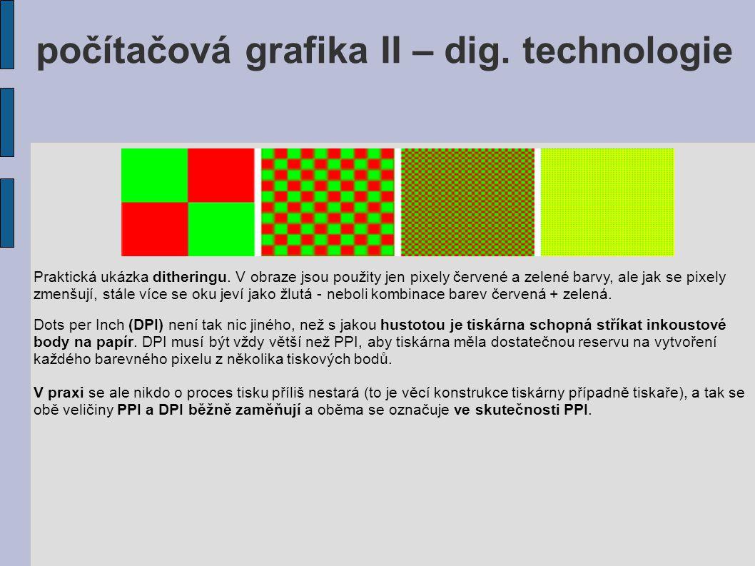 Praktická ukázka ditheringu. V obraze jsou použity jen pixely červené a zelené barvy, ale jak se pixely zmenšují, stále více se oku jeví jako žlutá -