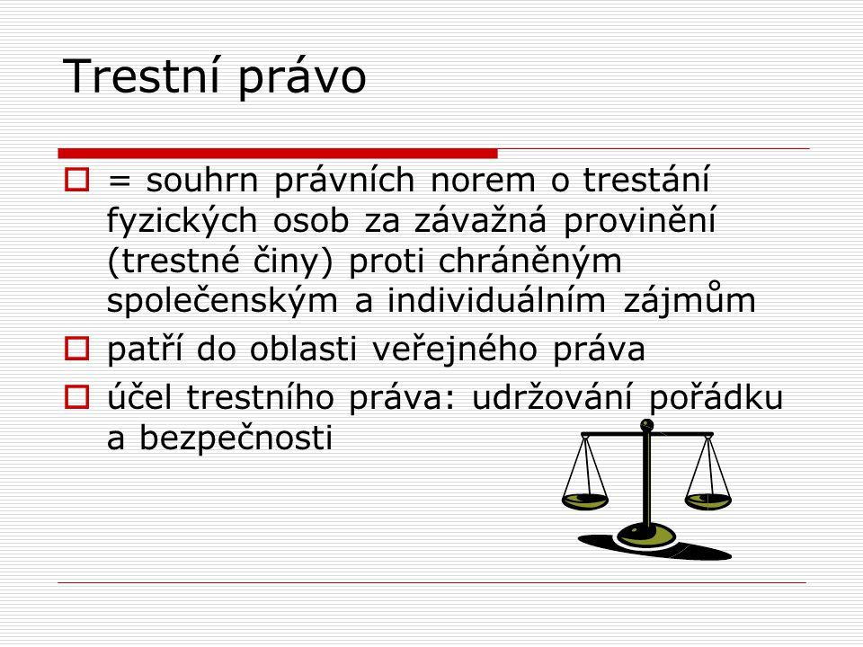 Trestní právo  = souhrn právních norem o trestání fyzických osob za závažná provinění (trestné činy) proti chráněným společenským a individuálním záj