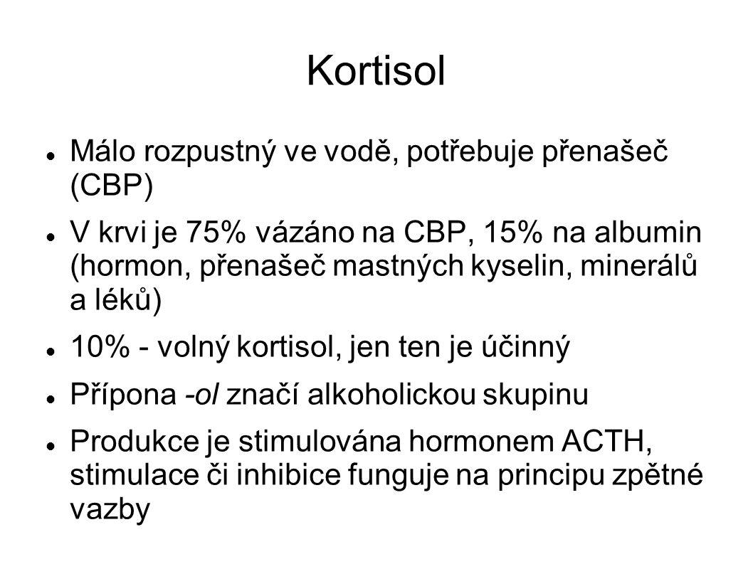 Kortisol Málo rozpustný ve vodě, potřebuje přenašeč (CBP) V krvi je 75% vázáno na CBP, 15% na albumin (hormon, přenašeč mastných kyselin, minerálů a léků) 10% - volný kortisol, jen ten je účinný Přípona -ol značí alkoholickou skupinu Produkce je stimulována hormonem ACTH, stimulace či inhibice funguje na principu zpětné vazby