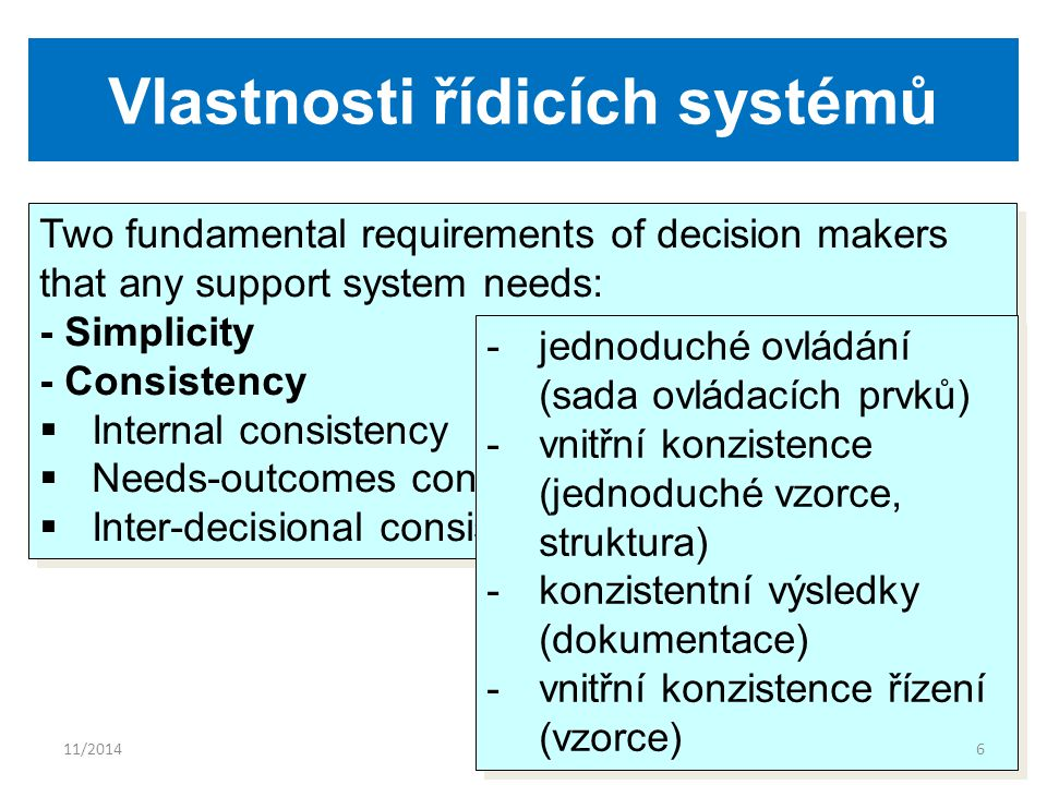 Vlastnosti řídicích systémů Two fundamental requirements of decision makers that any support system needs: - Simplicity - Consistency  Internal consistency  Needs-outcomes consistency  Inter-decisional consistency Two fundamental requirements of decision makers that any support system needs: - Simplicity - Consistency  Internal consistency  Needs-outcomes consistency  Inter-decisional consistency -jednoduché ovládání (sada ovládacích prvků) -vnitřní konzistence (jednoduché vzorce, struktura) -konzistentní výsledky (dokumentace) -vnitřní konzistence řízení (vzorce) -jednoduché ovládání (sada ovládacích prvků) -vnitřní konzistence (jednoduché vzorce, struktura) -konzistentní výsledky (dokumentace) -vnitřní konzistence řízení (vzorce) 11/20146